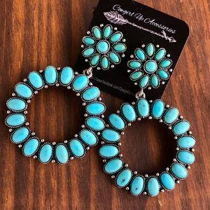 Jewelry - Round Turquoise Statement Earrings